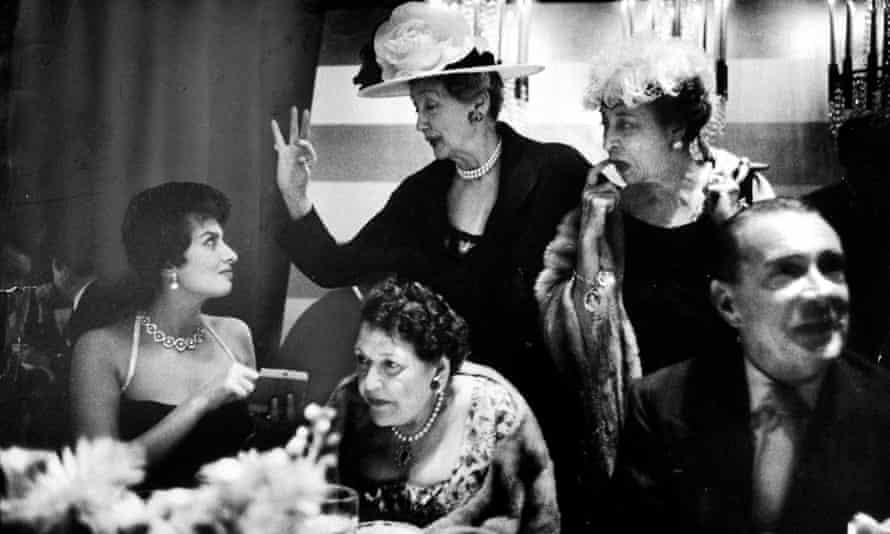 Gossip girls … From left: Sophia Loren, Louella Parsons, Hedda Hopper and friends.