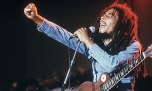 Bob Marley on stage.