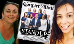 Domestic violence victims Karina Lock (left) and Tara Brown and the Brisbane Courier Mail's Friday edition calling for community action to halt a spate of incidents.