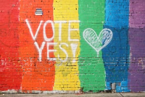 A wall in Newtown, Sydney, is painted with the rainbow flag and the message 'Vote yes'. The Australian marriage law postal survey, which will decide if same-sex marriage is to be legalised, is due to be sent out by the Australian Bureau of Statistics