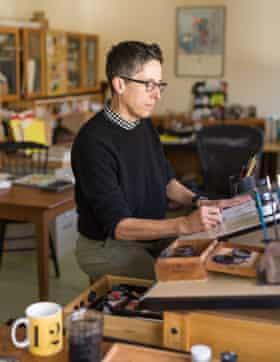 Graphic novel illustrator and cartoonist Alison Bechdel works in her West Bolton, VT ( Vermont) studio.
