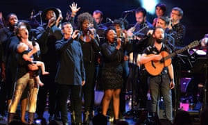 Marc Almond, centre, performs in the Proms tribute to Bowie with Amanda Palmer, right and Conor O'Brien, left and backing singers surrounding.