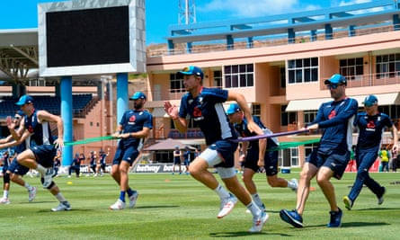 Joe Root (centre) and the rest of the England party keep busy during a training session in Grenada.