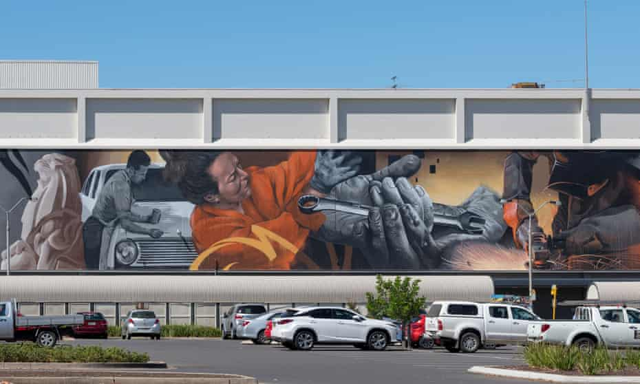 'There's virtually nothing left now' … a mural on a shopping centre in Elizabeth depicts the town's lost industry.