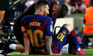 Lionel Messi received lengthy treatment and did not emerge for the second half against Villarreal.