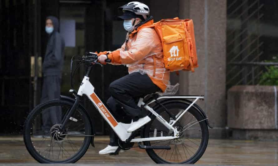A Just Eat rider on a bike