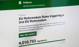 Online petition calling for second EU Referendum