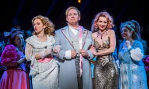 Rhian Lois (Valencienne), Robert Murray (Camille) and Sarah Tynan (Hanna Glawari) in The Merry Widow at London Coliseum.