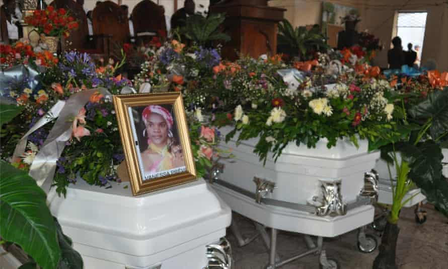 The funeral of Jesula Gelin, Vanessa Previl and Monique Vincent.