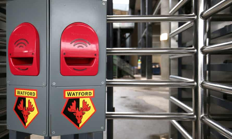 Closed turnstiles outside Vicarage Road, home of Watford FC, who are now in the Championship.