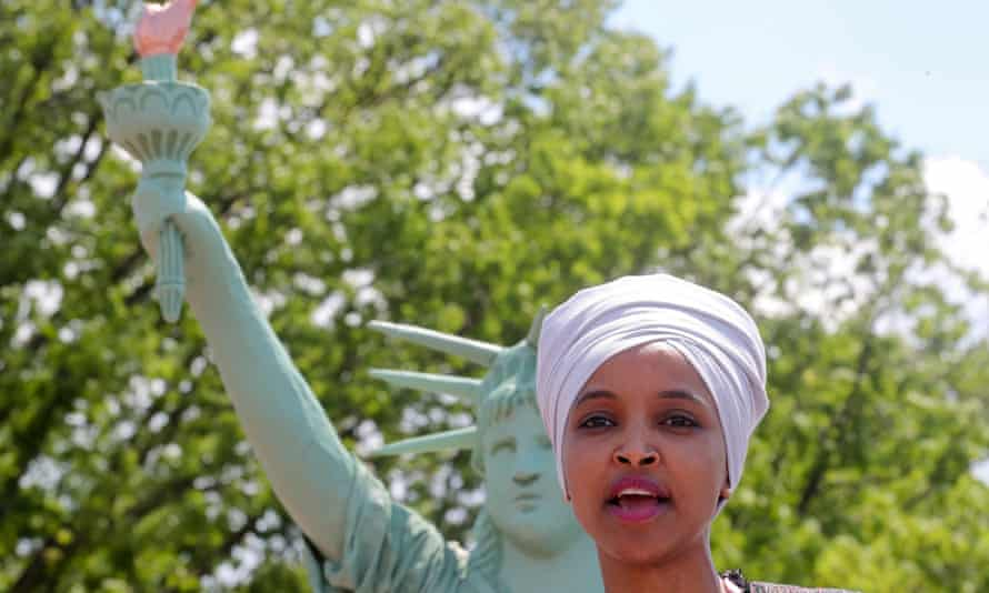 FILE PHOTO: U.S. Representative Omar addresses a small rally on immigration rights at the temporary installation of a replica of the Statue of Liberty at Union Station in Washington<br>FILE PHOTO: U.S. Representative Ilhan Omar (D-MN) addresses a small rally on immigration rights at the temporary installation of a replica of the Statue of Liberty at Union Station in Washington, U.S. May 16, 2019. REUTERS/Jonathan Ernst/File Photo