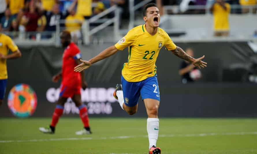 Philippe Coutinho celebrates his first goal.
