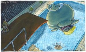 Martin Rowson cartoon 27/7/21: Boris Johnson dives into rapidly draining pool