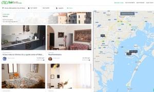 Screengrab of Venice properties on Fairbnb.coop website.