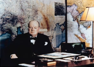 Winston Chrchill in the No 10 Annexe Map Room, May 1945.