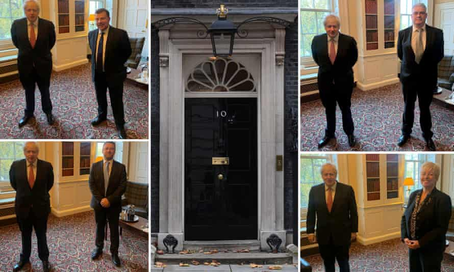Tory MPs with Boris Johnson in Downing Street: Andy Carter, Lee Anderson, Lia Nici and Brendan Clarke-Smith.