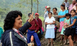 Berta Cáceres speaks to people near the Gualcarque river in 2015 where residents were fighting a dam project.