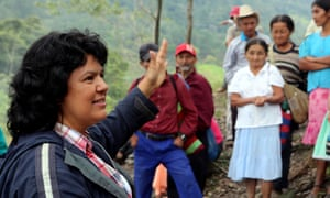 Berta Cáceres speaks to people in January 2015 near the Gualcarque river in Honduras.