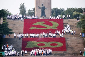 The theme flower show is held to celebrate the 100th anniversary of the founding of the Chinese Communist A party-themed flower show in Chengdu, Sichuan