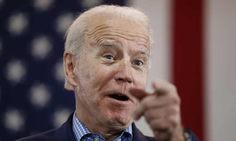 Joe Biden in February, before his campaign was forced online.