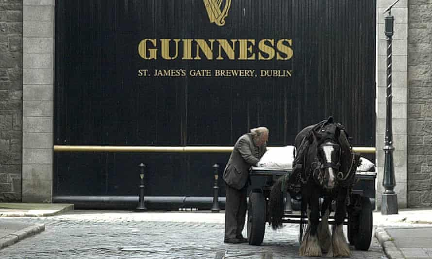 At the Guinness brewery in Dublin, the distinctive gate, above, and on-site home of Arthur Guinness, will stay in Diageo's hands.