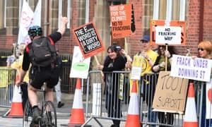 Anti-fracking protesters in Preston