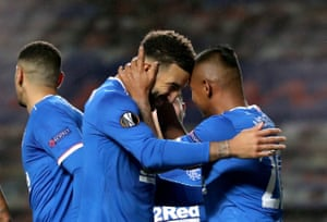 Morelos celebrates with teammate Goldson