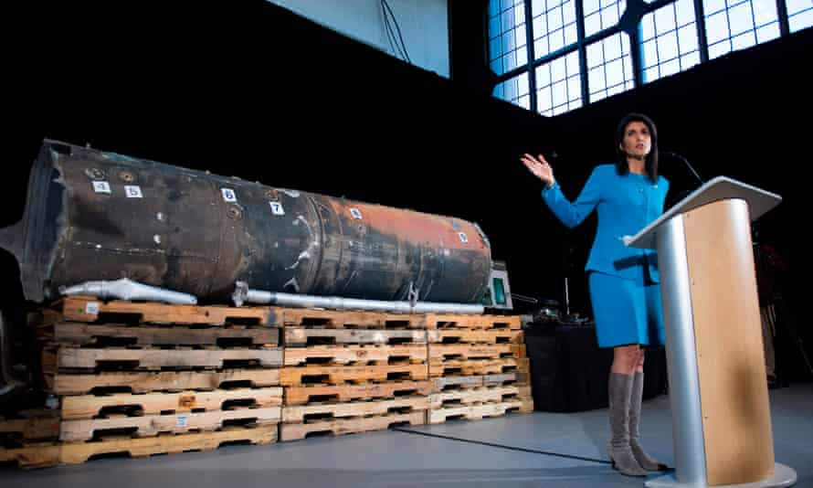 Nikki Haley unveils previously classified information at Joint Base Anacostia in Washington DC on Thursday.
