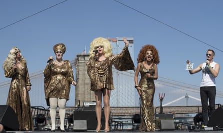 Neil Patrick Harris, right, appears on stage along Lady Bunny, center, and other performers during Wigstock on Saturday in New York.