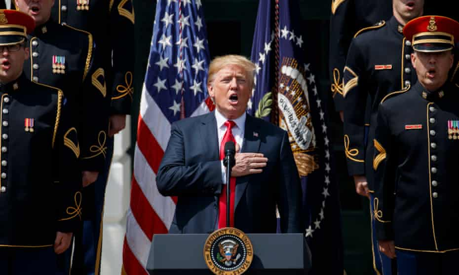 Donald Trump sings during his Celebrate America event on the South Lawn of the White House.