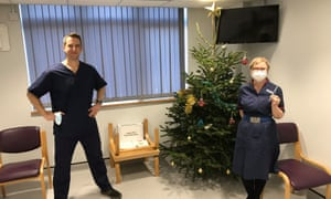 Staff on Christmas Eve at the Manor surgery, Oxford.