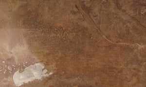 Satellite view of the Namibia-Angola border, including Etosha Pan, bottom left, and the Ohangwena region to the north of the salt pan