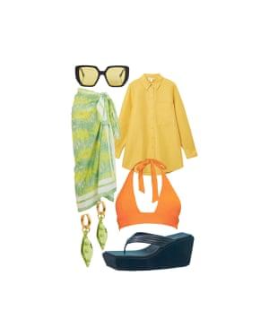 Bemi Shaw, Contributing stylist'Tried-and-true, the sarong is a great cover-up staple' Bikini top, £40, tocoswim.com. Earrings, £37 each, sandralexandra.com. Platform sandals, £240, frankiesbikinis.com. Sarong, £95, Ganni at harveynichols.com. Shirt, £59, cosstores.com. Sunglasses, £280, Gucci at mytheresa.com