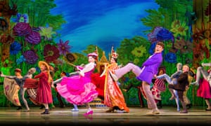 Zizi Strallen (in pink) in the title role, with Charlie Stemp, right, as Bert, in Mary Poppins.