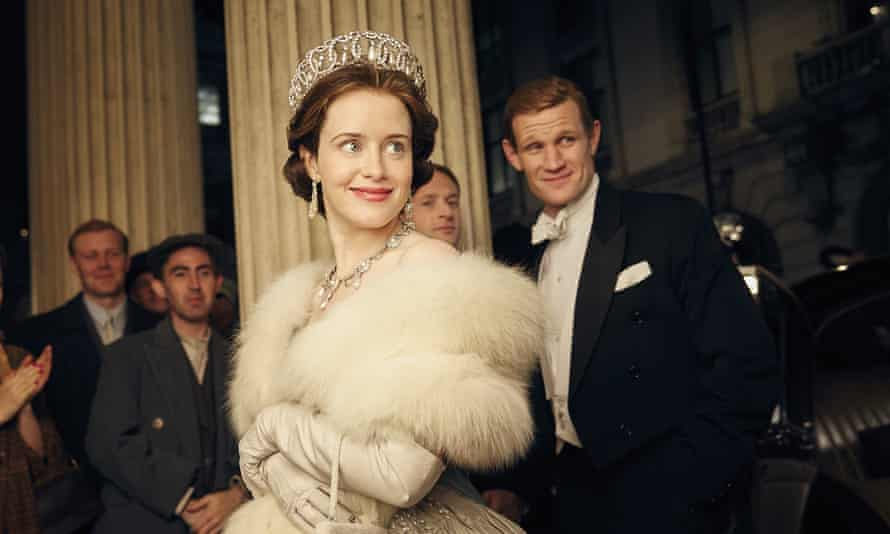 Two steps behind … Matt Smith as the duke with Clare Foy as the Queen in the Netflix series The Crown.