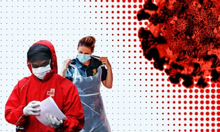 Composite image of virus and masked delivery and healthcare workers
