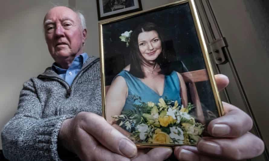 Peter Lawrence holds photograph of Claudia
