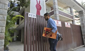 A man enters the Amnesty International office in Bangalore
