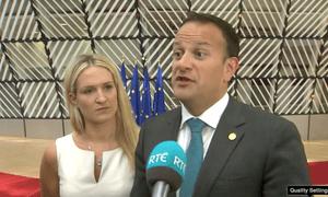 Leo Varadkar, with the Irish Europe minister Helen McEntee