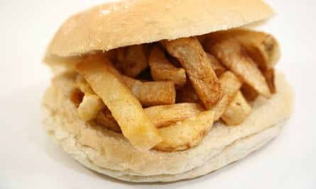 A chip butty in a roll