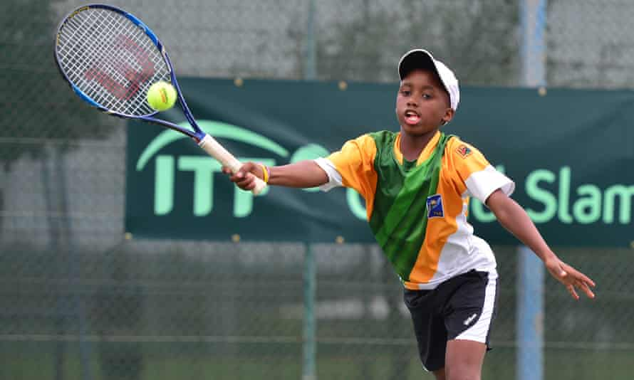 Khololwam Montsi pictured in action at the ITF African Junior Championships in 2016.