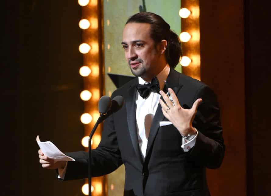 Lin-Manuel Miranda accepts one of the many Tony Awards in 2016.