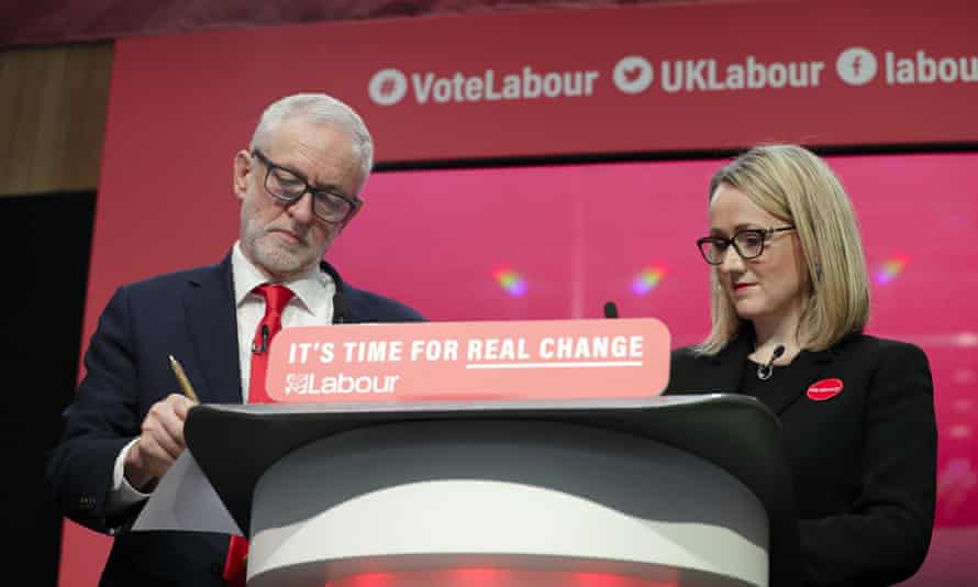 Rebecca Long-Bailey with Jeremy Corbyn on stage at the launch of Labour's general election manifesto.