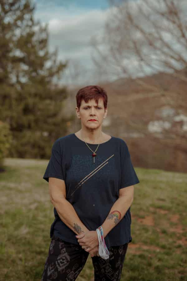 Mary Beth Cochran, 52 poses for a portrait at her home in Canton, North Carolina on Sunday March 21, 2021. Mary Beth is joint care taker for her four grand children, two of which live with her along with her elderly mother-in-law. CREDIT: Mike Belleme for The Guardian
