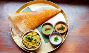 Dosa with sambals and potato fry: 'This is what heaven looks like when fashioned from carbohydrate.'