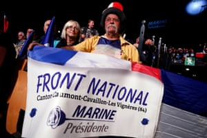 A supporter of Marine Le Pen during a rally in Nice.