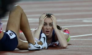 Laura Muir shows her dejection at just missing a 1500m medal at last year's world championships in London.