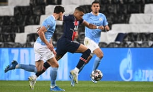 Paris Saint-Germain's Kylian Mbappe puts the burners on.