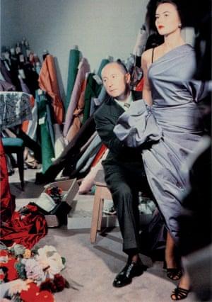 Christian Dior with model Sylvie, c1948.