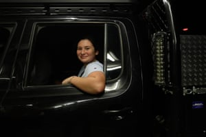Piera Caruana in the back of her parents' ute waits patiently in the line at the main gates